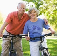 Older couple enjoying exercise